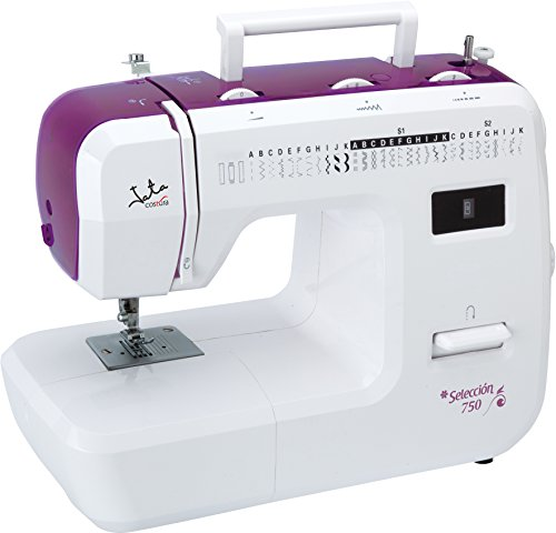 Jata MC750 - Máquina de Coser con 31 diseños de Puntada y Ojal en 4 Tiempos, PVC, Blanco con Detalles en Rosa, MC750-Máquina
