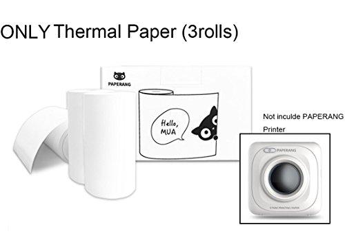 Paperang Thermopapier für Mini Drucker, Tragbar Kabellos Bluetooth Foto Drucker Papier in Weiss (3 Rollen)