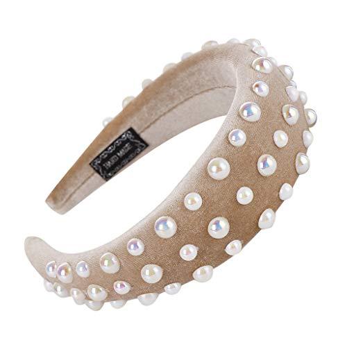 Honestyi Mode Schwamm Samt Perle Haarband Frauen Haar Kopf Hoop Mädchen Süßes Stirnband HANDGEMACHTE große Fett Schaum Gold Ring Haarschmuck