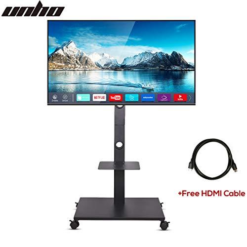 Unho mobile porta tv carrello con ruote e ripiano in metallo mobile supporto da pavimento per schermi piatti da 32a 165,1cm LED LCD OLED con cavo HDMI incluso