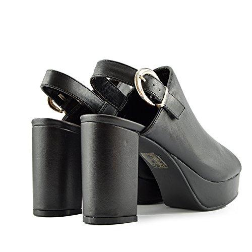 Kick Footwear - Donna Tacco, Platform Slingback Scarpe Aperte Peep Toe Cinturino alla Caviglia Sandali Nero HWP1