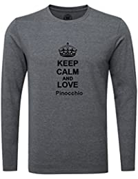 Keep Calm and Love Pinocchio Luxury Slim Fit Long Sleeve Dark Grey T-Shirt