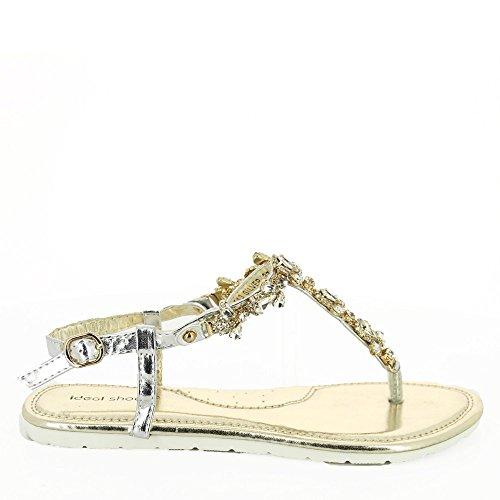Ideal Shoes–Sandalen Flache Verschmutzungen Strass und Steinen Spiegelkugel mabela Silber - silber