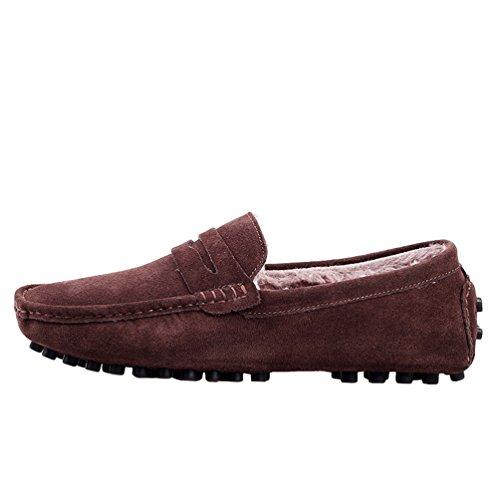 Hombre Brown Deslizamiento De Yijee De Holgazanes Conducir La De Los Zapatos Calor Para Embarcación dYAqOwx