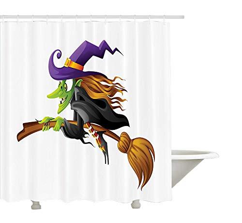 böse unheimlich alte Frau fliegen gruselig Märchen Fantastische Charakter weibliche Magier, Stoff Badezimmer Dekor Set mit Haken, Multicolor ()