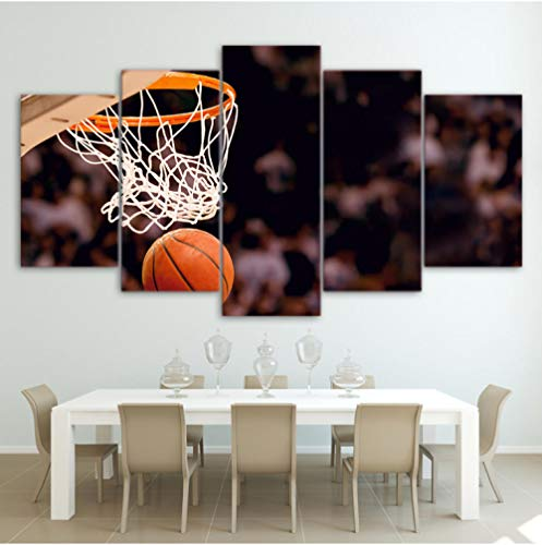 Leinwand Malerei Moderne Kunst Poster Wand Modulare Bild Wohnkultur 5 Panel Basketball Druck Auf Leinwand Für Wohnzimmer (Basketball-wand-kunst)