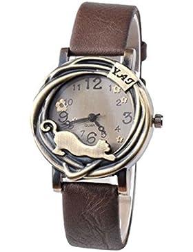 Damen Katze & Blumen Quartz Analog Uhr Armbanduhr Bronze Gehäuse Kaffeebraun