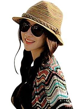 Moollyfox Verano Otoño Moda Mujer paja Sombrero Color Rayas Playa Sombrero Plegable Sombrero Como en la foto