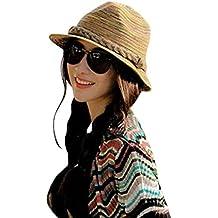 Moollyfox Verano Otoño Moda Mujer Paja Sombrero Color Rayas Playa Sombrero  Plegable Sombrero 3dc8bbc9919