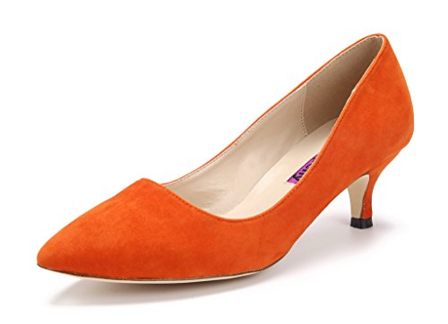 Katypeny Women's Vintage Shallow Mouth Slip On Pointed Toe Stiletto Mid Heel...