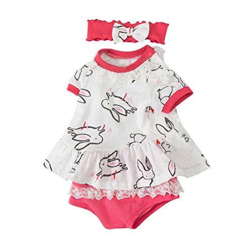 HEETEY Kinder T-Shirt Sommer Oberteile, Neugeborenes Baby Mädchen Häschen Kleid Tops + Shorts Set Anzug Kleidung Outfit Crew Neck Blusen Tops