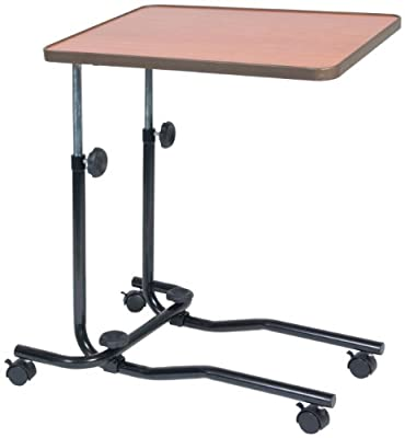 NRS Healthcare M15691 Portable Overbed/Chair Table - Tilting, Adjustable & Wheeled