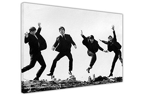Schwarz und Weiß The Beatles Jumping Kunstdruck auf Leinwand Art Wand Bilder Raum Dekoration John Lennon Paul McCartney, canvas, schwarz / weiß, 3- 20