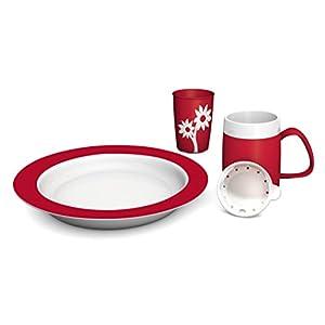 Ornamin Demenz-Set 4-teilig | Hilfsmittel zur Unterstützung von selbstständigem Essen und Trinken | Melamin, Speise-Set, Spezial-Esshilfen und Trinkhilfen, Senioren-Hilfsmittel, Pflege-Geschirr