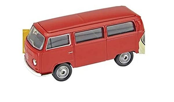 rot Modellauto 1:60-64 Volkswagen Bus T2 1972