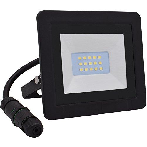 Lumaro LED Strahler 10W Extraflach Flutlicht IP65 3000k für außen und innen inkl. IP68 Stromverbinder warmweiß