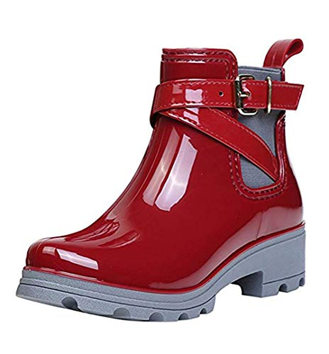 Womens Waterproof Combat Boot (TWGDH Ankle Boots Rain Boots Women es Waterproof Snow Non-Slip Platform Rubber Short Boots Casual Chelsea Shoes,Red,39)