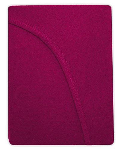 SUMG Farbenfrohes Jersey Spannbettlaken Spannbetttuch Bettlaken aus hautsympathischer 100% Baumwolle (120 x 200 cm, Pink/Magenta) - 3
