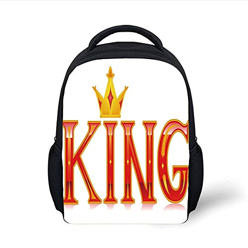 Kids School Backpack King,Royal King Quote in Capital Lettering with Crown as Dot Vivid Slogan Like Art Print,Red and Gold Plain Bookbag Travel Daypack -