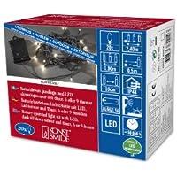 Konstsmide 3722-100 LED Lichterkette / für Außen (IP44) /  Batteriebetrieben: 4xAA 1.5V (exkl.) / mit Lichtsensor, 6h und 9h Timer / 20 warm weiße Dioden / schwarzes Kabel