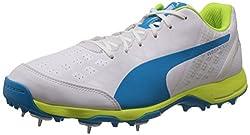 Puma Mens evoSPEEDCricketSpike1.4 White, Atomic Blue and Safety Yellow Cricket Shoes - 7 UK/India (40.5 EU)