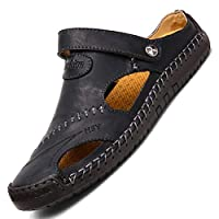TQGOLD Mens Women Sandals Summer Outdoor Closed Toe Clogs Slippers Beach Shoes Leather Flip Flops(Black,Size 42)