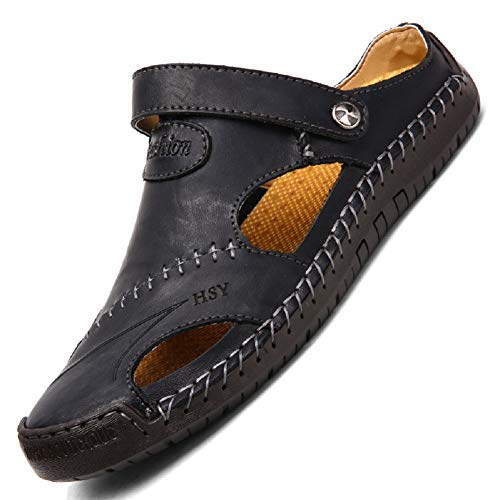 tqgold Flip Flops Herren Sandalen Sommer Leder Strandschuhe Hausschuhe Slipper Clogs Zehentrenner aus Rindsleder(Schwarz,Größe 42)