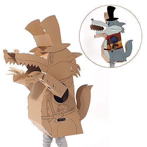 ROCK1ON DIY Doodle Karton Spielhaus Kinder Großer Wolf Anzug Rollenspiel Pappe Spielzeug Färbung Malen Indoor Im Freien Kreatives Weihnachten Alter - Erstellen Sie Ein Wolf Kostüm