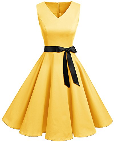 Bridesmay Damen Vintage 1950er Rockabilly Ärmellos Retro Cocktailkleid Partykleid Yellow 3XL