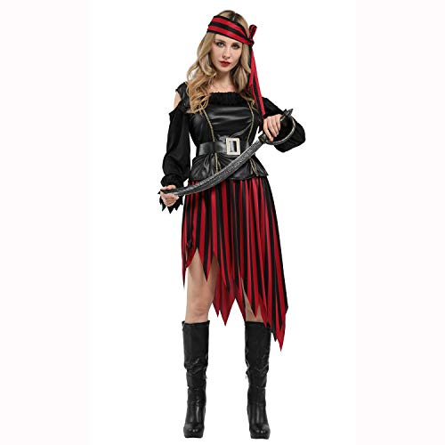 Erwachsene Piraten Prinzessin Für Kostüm - ZYFDFZ Halloween Cosplay Kostüm Piratenkostüm Bühnenshow Anzug Hübsche Piraten Prinzessin Kleid Erwachsene Weibliche Gril Party Requisiten Cosplay Requisiten