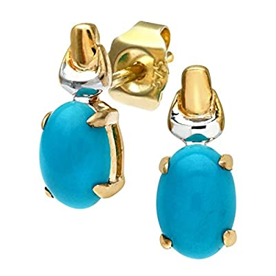 Citerna 9 ct Yellow and White Gold Turquoise Birth Stone Earrings
