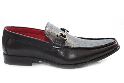 Herren Giovanni Smart Büro Anzug Metall Bar Schwarz Slip auf Loafer Größe UK 6
