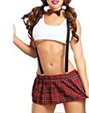 Tofox Mujer Lencería Sexy Disfraz Estilo Colegiala Estudiante Lenceria Mujer Erotica Colegiala Disfraz Ropa Interior Escolar Uniforme Atractiva Falda+Camisa
