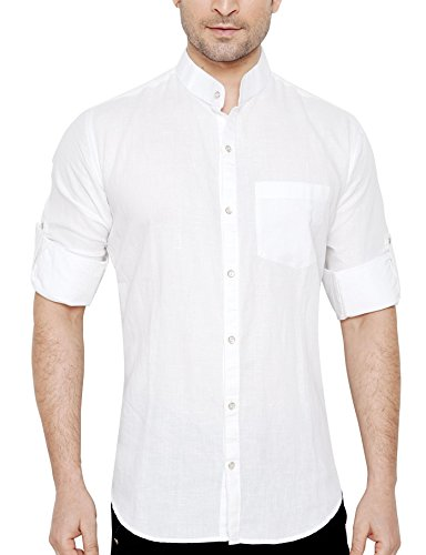 Global Rang Men's Linen Stand Collar Shirt 5