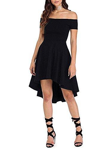 ZJCTUO Damen Kleid Abendkleid Schulterfreies Cocktailkleid Jerseykleid Skaterkleid Knielang Elegant Festlich Asymmetrisches Partykleid- Gr. 42 (XL), Schwarz - 3