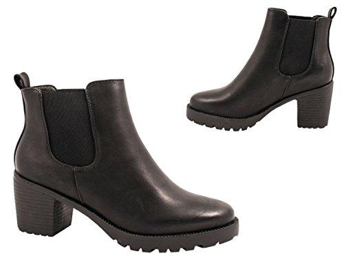 Elara Damen Chelsea Stiefel   Bequeme Stiefelette Profilsohle   Plateau Chelsea Boots   Gefüttert Schwarz 2 New