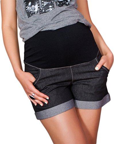 Mija - Kurze Jeans Umstandsshorts/Umstandshose mit Bauchband für Sommer 9037 (38, Schwarz)