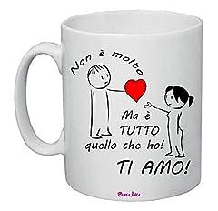 Idea Regalo - Tazza Mug 8x10 Scritta Ti Amo Cuore Rosso Idea Regalo San Valentino