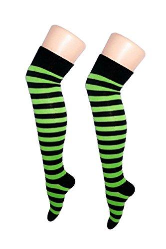 50aa291e5e27d New Womens Over The Knee Long Horizontal Stripe Print Ladies Thigh High  Striped Patterned Overknee Socks
