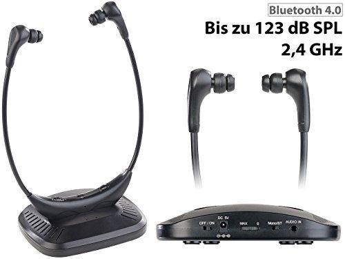 newgen medicals TV Kopfhörer: Kinnbügel-Kopfhörer mit Bluetooth 4.1, 15 m, 100 dB, 19 Std. Betrieb (TV Funkkopfhörer) - 2