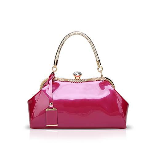 NICOLE & DORIS Handtaschen für Damen Lackleder Handtaschen Abendtasche für Party Hochzeit Schultertasche Rose