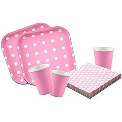 Platos,vasos y servilletas desechables Cumpleaños Niña. 88 piezas Set de Fiesta Cumpleaños Infantil. Vajilla desechable lunares rosa. (vasos rosas lisos)