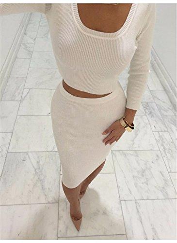 QIYUN.Z Manches Longues Mince Mini-Jupes Des Femmes En Tete De La Taille Haute a Tricoter Deux Pieces Blanc