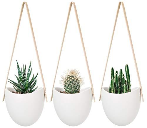 Mkouo Lot de 3 Pot de Fleurs à Suspendre Macramé et Céramique Pots Jardinière Suspendue Vase Décoration, 33cm