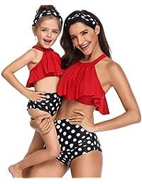 Madre e Hija Ropa Bikinis Traje de baño Mujer Dos Piezas Ropa de baño Mujer Cintura Alta Padre Hijo POLP Camisolas Niña Conjunto Mamá bebés Bañadores de Mujer Natacion Verano Playa S-XL