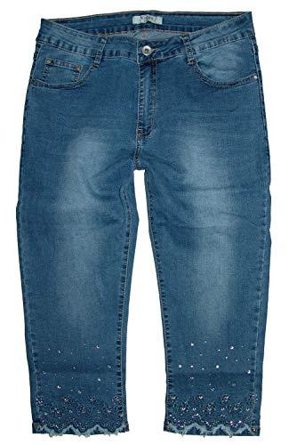 Voggo Damen Stretch Capri 3/4 Jeans Hose, jeansblue Used -Floral- W2173, Gr.44 W34 -