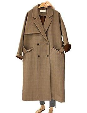 DFUCF Signore Cappotto Trench Coat Colore Solido Mac Lunghi Maniche Lunghe Cadono Doppio Petto Breasted