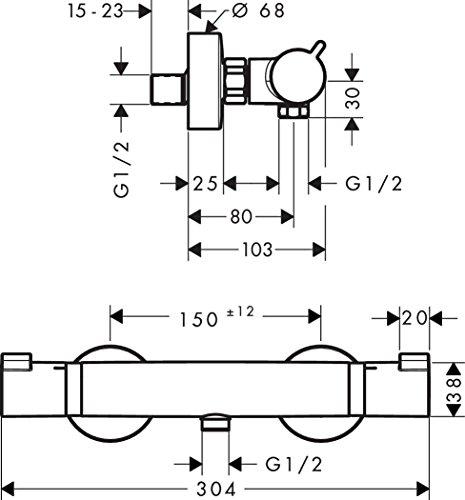 Hansgrohe Brause-Thermostat Ecostat Comfort Aufputz mit Rückflussverhinderer, verchromt, 13116000 -