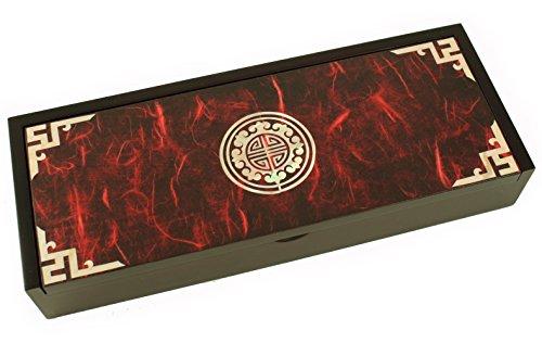 Boîte à bijoux en bois, mère de Pearl incrusté, étui à crayons Oriental. Rouge Longévité Symbole