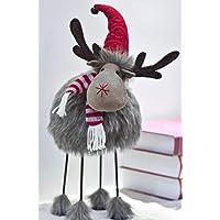 Valery Madelyn 42cm Weihnachtsdeko Stoff wackeliger Hirsch Deko Figur mit Feder Körper In den Wald Thema Rentier Dekofigur mit Fell Tierfigur Tisch Weihanchtsdeko für Weihnachten